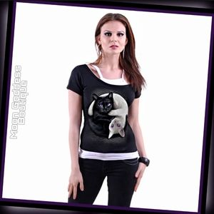 Gothic YIN YANG CATS - 2in1 Off Shoulder Top Black